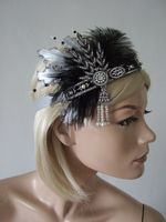 Black Silver Feathers + Crystal Flapper 1920's Art Deco Headband Headpiece - Great Gatsby Downton Abbey Fashion. 20s Theme Party outfits. Great Gatsby Headbands. Downton Abbey Halloween outfits.